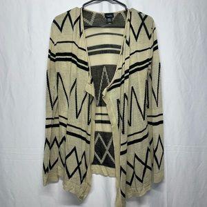 Rue21 Tan/black Geometric open cardigan Size S